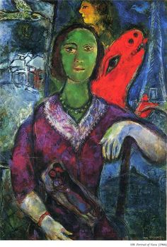 Portrait of Vava - Marc Chagall -it's like the green eyed (faced?) monster came out!