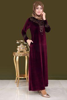 ** SONBAHAR / KIŞ ** Damla Taş Detaylı Kadife Elbise Bordo Ürün Kodu: BSF1398-28--> 119.90 TL