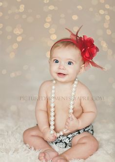 Christmas Baby Pictures with damask bloomers and pearls