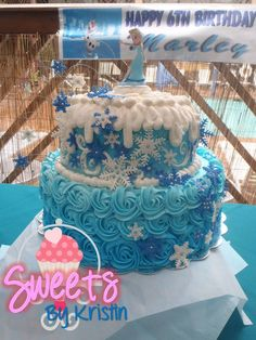 Elsa Cake, FROZEN CAKE, SNOWFLAKES & SWIRLS, BLUE ROSES, BUTTERCREAM DISNEY CAKE, DISNEY CAKE FOR GIRLS.