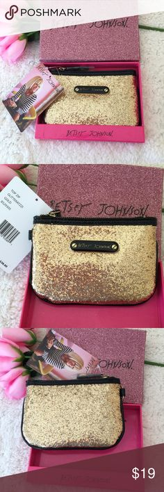 """Betsey Johnson Gold Glitteratzzi Zip Top Clutch! Add a touch of shimmering gold and glitter with this must have clutch! Perfect for your essentials for a night out! Gold tone zipper and hardware. Measures 4"""" x 6"""". New in box with tag. Betsey Johnson Bags Clutches & Wristlets"""