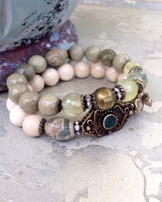 Semi Precious Stretch Set African Brass by CountryChicCharms, $68.00