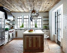 Love the tile everywhere and the shelves by the windows and hood fan
