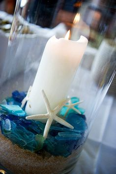 Easy beach centerpiece idea - sea glass, starfish, sand (or brown sugar), candle…
