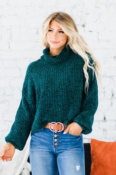 Our Analia Chenille Sweater is a must-have this season, it gives you a high-fashion look without the high-fashion price tag! We love the comfortable, super soft texture of this piece! From the trendy and slimming turtleneck style to the ribbed texture, our top is a must-have this fall season!