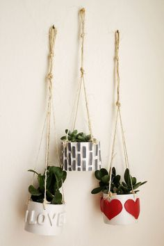 DIY Mini Hanging Planters Using Polymer Clay
