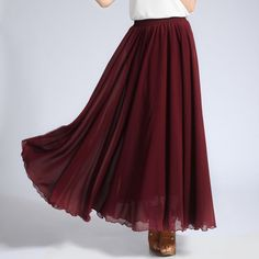 Brown Red Chiffon Maxi Skirt with Extra Wide Hem - Long Maroon Chiffon Skirt…