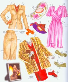 Fabulous '40s fashions for Veronica.  Page 2 of 8 Page book.  By David Wolfe, Paperdollywood.