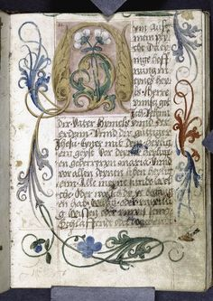 Opening of main text, large initial, border flourishes, placemarkers (circa 1530). From a Book of Hours.