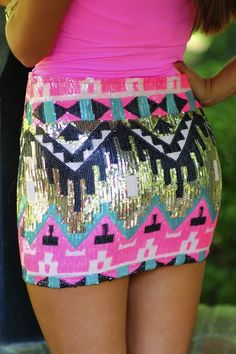 Juuuuuust a little short and tight but super cute: Tribal Sequin Skirt Pastel Outfit, Summer Outfits, Cute Outfits, Summer Clothes, Cute Fashion, Womens Fashion, Skirt Fashion, Swagg, Spring Summer Fashion
