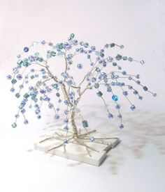 wire art tree silver plated wire turquoise blue beads miniature weeping willow tree statue minimal home decor minimalistic blue tree of lifeShop for weeping willow on Etsy, the place to express your creativity through the buying and selling of handma Wire Tree Sculpture, Sculpture Art, Willow Tree Statues, Wire Wall Art, Wire Trees, Tree Branches, Weeping Willow, Wire Crafts, Green Trees