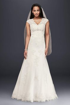 My New Favorite! http://www.davidsbridal.com/Product_Petite-Lace-Satin-Wedding-Dress-with-Cap-Sleeves-7T3299