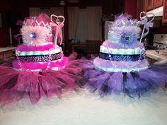 Pink & Purple, Tutu Princess, Zebra, Diaper Cakes for my twin Nieces. so cute.