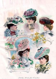 "The Delineator ""Pretty Hats for Easter"" ad 1902 Victorian Ladies."