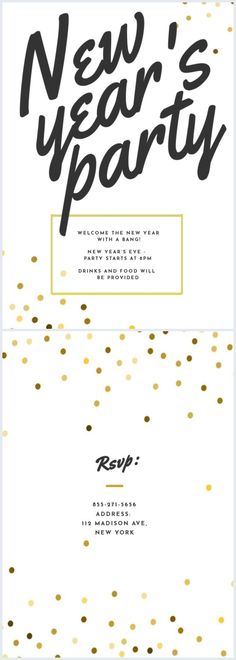 Check out this modern New Year's Eve party invite template and grab everyone's attention. Change the fonts, colors and add your own photos. Share your final invitation design with us! Best Templates, Card Templates, Holiday Invitations, Party Invitations, Online Cards, Invitation Design, Invite, New Years Eve Party, 3d Character