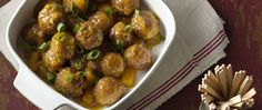 Get a quick start with frozen meatballs for this exotically flavored appetizer, with a sweet-sour mustard and pineapple sauce scented with curry.
