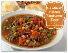 30-Minute Healthy Hamburger Soup Recipe #soup #healthyrecipes #beef - http://www.savingeveryday.net/2014/02/30-minute-healthy-hamburger-soup-recipe/