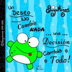 Un deseo no cambia nada, una decisión cambia Todo!  Decídete ;) #deseo   #decision   #todo   #rana   #ilustracion   #tarjetas   #gif    #guyuminos   http://guyuminos.blogspot.mx/2016/01/un-deseo-no-cambia-nada-una-decision.html