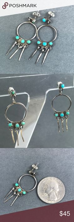 Vintage Sterling Silver Turquoise Earrings Vintage Sterling Silver Turquoise Dangle Earrings Possible Native American Made Slight variations to stones and it adds to its boho character Pet and smoke free location Vintage Jewelry Earrings #SterlingSilverTurquoise
