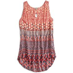Lucky Brand Ombre Geo Tank ($39) ❤ liked on Polyvore featuring tops, shirts, tank tops, tanks, cut out shirts, ombre shirt, long tank, red v neck shirt and v neck tank top