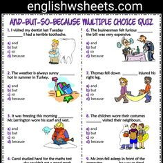 AND BUT SO BECAUSE Esl Printable Multiple Choice Quiz For Kids #conjunctions #andbutbecause #esl #printable #multiple #choice #quiz #eslquiz #englishquiz #englishwsheets #Grammar #englishgrammar #grammarexercise #languagearts #eslprintable #eslforkids #eslkids #kids #forkids #learnenglish #learnesl #englishteacher #elt #efl #tefl #esol #tesol English Grammar For Kids, Learning English For Kids, Teaching English Grammar, English Lessons For Kids, Grammar Lessons, English Language Learning, Language Lessons, Parts Of Speech Worksheets, First Grade Math Worksheets