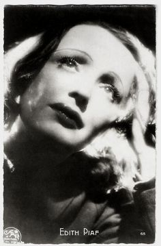https://flic.kr/p/TyaRVV | Edith Piaf | French postcard by O.P., Paris, no. 65. Photo: Star.  Édith Piaf (1915-1963) is a cultural icon and is universally regarded as France's greatest popular singer. Her ballads, like La Vie en rose (1946) and Non, je ne regrette rien (1960), reflected her life. She appeared sporadically in films.  For more postcards, a bio and clips check out our blog European Film Star Postcards Already over 4 million views! Or follow us at Tumblr or Pinterest.