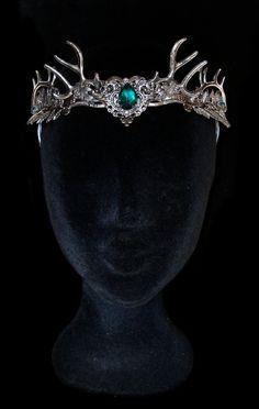Antler Crown Headress Deer Tiara Circlet Green by AMonSeulDesir