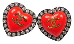 Get the lowest price on Authentic SUPER RARE Crystal CC Red Resin Heart Vintage Earrings and other fabulous designer clothing and accessories! Shop Tradesy now Heart Shaped Earrings, Red Earrings, Crystal Earrings, Clip On Earrings, Pierced Earrings, Vintage Chanel Earrings, Chanel Jewelry, Vintage Jewelry, Rare Crystal