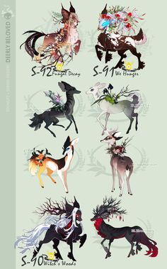 Draw Creatures [Stygian Verdeer] Deerly Beloved by sordid-dessert - Cool Mythical Creatures, Cute Fantasy Creatures, Magical Creatures, Cute Animal Drawings, Kawaii Drawings, Cute Drawings, Wolf Drawings, Fantasy Beasts, Fantasy Art