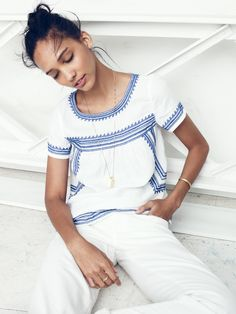 Madewell Folktale blouse worn with the boyjean + Ensign necklace.