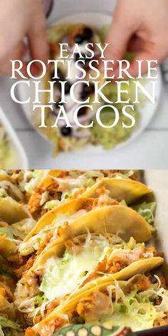 Easy Rotisserie Chicken Tacos - goodrecipesfood Rotisserie Chicken Tacos, Chicken Taco Recipes, Mexican Food Recipes, Dinner Recipes, Shredded Chicken Tacos, Easy Chicken Tacos, Drink Recipes, Recipes Using Rotisserie Chicken, Chicken Burritos