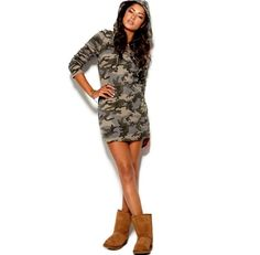 Casual Camo Hooded Streetwear Dress