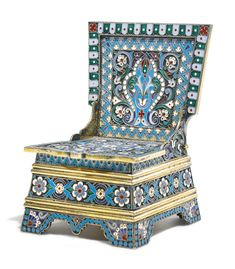A silver-gilt and cloisonné enamel salt chair, Ovchinnikov, Moscow, 1891 - decorated with stylised flowers and scrolling leaves on stippled grounds within geometric and turquoise bead borders, the underside of the hinged lid engraved in Russian 'St. Petersburg, 8th August 1892', 88 standard height 10.5cm, 4 1/8 in.