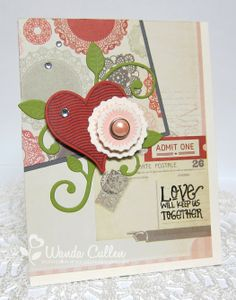 Card by Wanda Cullen using Love Notes, Bloom & Grow and Wings of Love from Verve.  #vervestamps