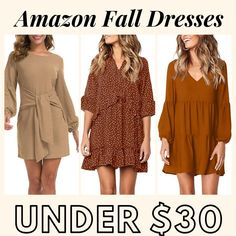 Fall dresses under 30 dollars from Amazon! Best amazon fall fashion finds #amazonfashion