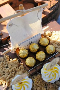 Ferroro rocher chocolates look like gold coins perfect for decorating a pirate party