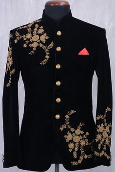 Buy Black Velvet Zari Embroidered Jodhpuri Suit Online - Jodhpuri suits for men - Wedding Dresses Men Indian, Wedding Dress Men, Wedding Men, Wedding Suits, Punjabi Wedding, Indian Weddings, Farm Wedding, Wedding Couples, Boho Wedding