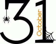 A picture with the date October 31 and a spider with its web