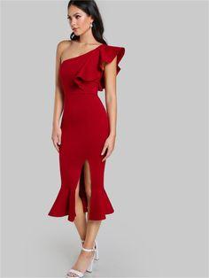 Kırmızı Tek Omuz Fırfır Tasarım Elbise