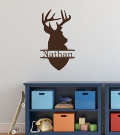 Deer Head Design Personalized Custom Name Vinyl Wall Decal Sticker