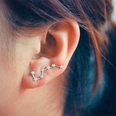 Unique Ear Piercing Ideas Fashion Jewelry for Teens - Constellation Star Ear Climber Crawler Earrings Studs in Gold or Silver -pendientes de estrella lindo - www.MyBodiArt.com #earrings