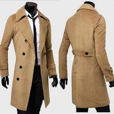 P/&E Mens Contrast Color Warm Plaid Lapel Neck Trench Overcoat Wool Blend Coat Jacket
