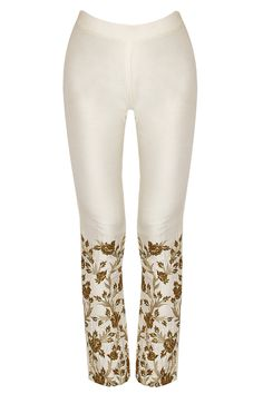 Off white floral embroidered cigarette pants by SVA. Shop now: http://www.perniaspopupshop.com/designers/sva #pants #sva #shopnow #perniaspopupshop