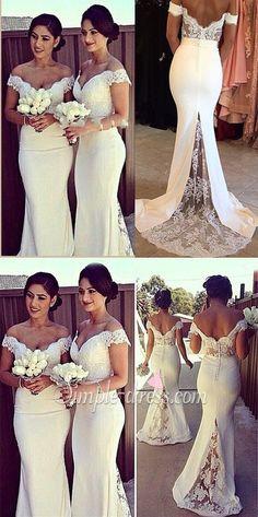 Elegant Mermaid Off-shoulder Long Lace White Bridesmaid Dress