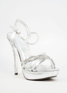 $47.99 Bridesmaid Shoes, Silver Sandals, Wedding Shoe-500-19