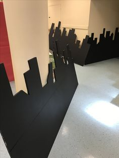 Love this cityscape! City scape is foam insulation board, cut with a hot knife and painted with black exterior paint. Thanks to Eleanor Christiansen and Heroes at Trinity UMC in Birmingham!