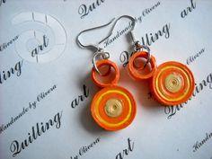 Orange dots, quilling earrings.