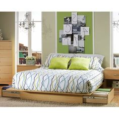 This full/queen modern platform bed with its Natural Maple finish has a timeless look and blends easily in any decor. It provides storage with two large drawers, one on each side, without handles. Dra