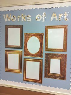 Vintage look in your classroom. Use picture frames to show off work! Vintage look in your classroom. Use picture frames to show off work! Year 6 Classroom, Early Years Classroom, Eyfs Classroom, Classroom Displays Eyfs, Classroom Window Display, Maths Display Ks2, English Classroom Displays, Classroom Décor, Classroom Projects