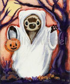 Spooky Halloween ferret ghost painting.  http://www.ebay.com/itm/271253381836?ssPageName=STRK:MESELX:IT&_trksid=p3984.m1555.l2649